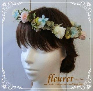 プリザーブドフラワーのバラとユーカリの花冠(ピンク・クリーム)ブルースター追加