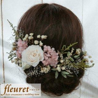 プリザーブドフラワーのヘッドドレス(髪飾り)16パーツセット ピンク バラ・ユーカリ・紫陽花・カスミソウ