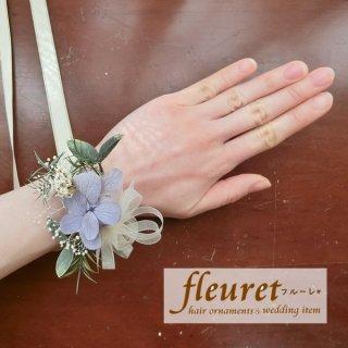 プリザーブドフラワーのリストレット・リストブーケ(アジサイ・ユーカリ)紫
