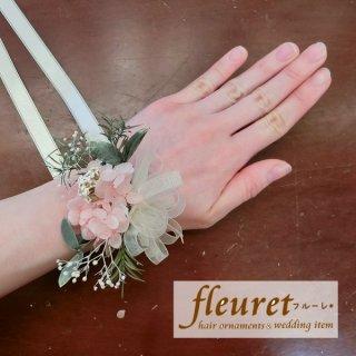 プリザーブドフラワーのリストレット・リストブーケ(アジサイ・ユーカリ)淡いピンク
