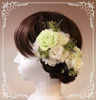 プリザーブドフラワーバラの髪飾り2個セット【ライムグリーン&白】