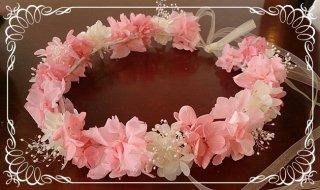 プリザーブドフラワーアジサイの花冠 大人用 【ピンク&白】
