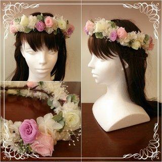 プリザーブドフラワーのバラの花冠 ランダム【紫&ピンク】