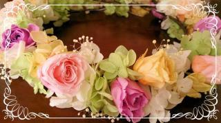 プリザーブドフラワーのバラの花冠 ランダム【カラフル】