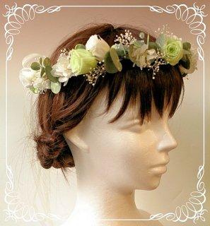 プリザーブドフラワーのバラとユーカリの花冠 大人用