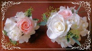 プリザーブドフラワーバラの髪飾り2個セット【白&ピンク】