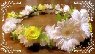結婚式 オーダーメイド 花冠 ガーベラ