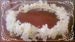 プリザーブドフラワーアジサイの花冠 大人用 【白】