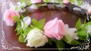 プリザーブドフラワーのバラとラスカスの花冠 大人用