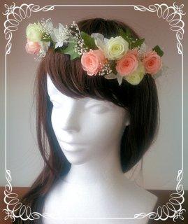 プリザーブドフラワーの花冠 アシンメトリー