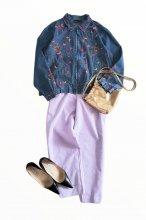 インド製ERIKAフラワー刺繍デニムジャケット