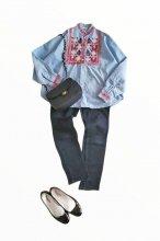80s プエブラ刺繍シャンブレーシャツ