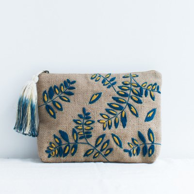 jamini・pouch ava-blue & yellow