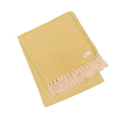 Chicoração ・Cotton Half Blanket Diamond yellow/gray