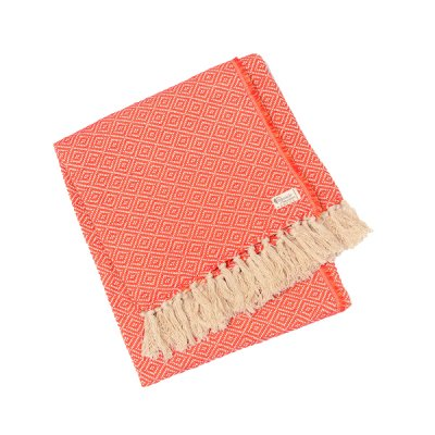 Chicoração ・Cotton Half Blanket Diamond red/orange