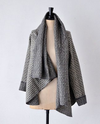 Chicoração ・Shawl jaket flower dark gray