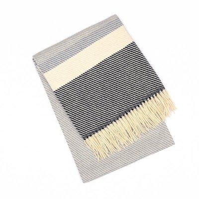 Chicoração ・Wool & Cotton Blanket Diagonal Stripe azul&bordeaux