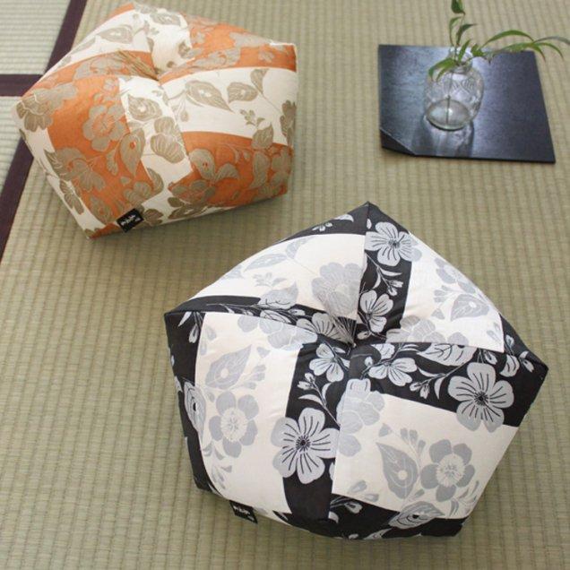 【長寿祝】 おじゃみ座布団 ペア2個セット 能装束(黒&橙Mサイズ各1点)