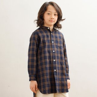 CHECK STAND COLLAR LONG SHIRT(AL812105)