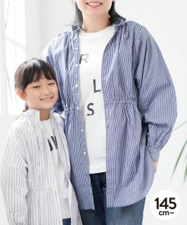 OUTLET 2WAY FRILL SHIRT STRIPE<img class='new_mark_img2' src='https://img.shop-pro.jp/img/new/icons20.gif' style='border:none;display:inline;margin:0px;padding:0px;width:auto;' />