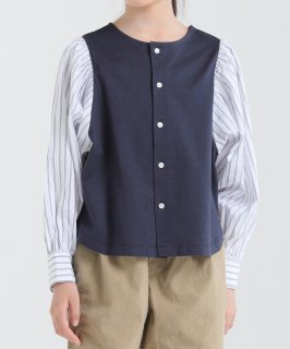 OUTLET STRIPE SLEEVE 2WAY CARDIGAN<img class='new_mark_img2' src='https://img.shop-pro.jp/img/new/icons20.gif' style='border:none;display:inline;margin:0px;padding:0px;width:auto;' />