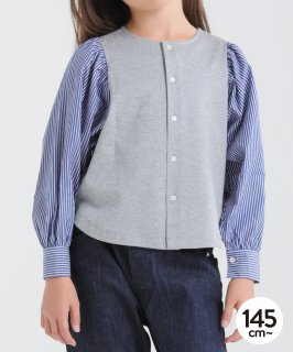 STRIPE SLEEVE 2WAY CARDIGAN<img class='new_mark_img2' src='https://img.shop-pro.jp/img/new/icons20.gif' style='border:none;display:inline;margin:0px;padding:0px;width:auto;' />