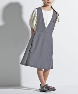 OUTLET LINEN LIKE V NECKED DRESS<img class='new_mark_img2' src='https://img.shop-pro.jp/img/new/icons20.gif' style='border:none;display:inline;margin:0px;padding:0px;width:auto;' />