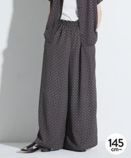 SCARF PRINT GATHER PANTS 裏地付/ポケット付/セットアップ対応 [145-165cm]