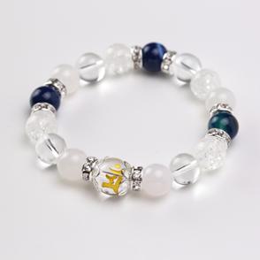 天然石 梵字ブレスレットB〈ホワイトオニキス・水晶・クラック水晶・藍紋メノウ〉
