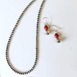 Indian Jewelry ナバホパール オキシダイズ(いぶし銀) 3mm玉