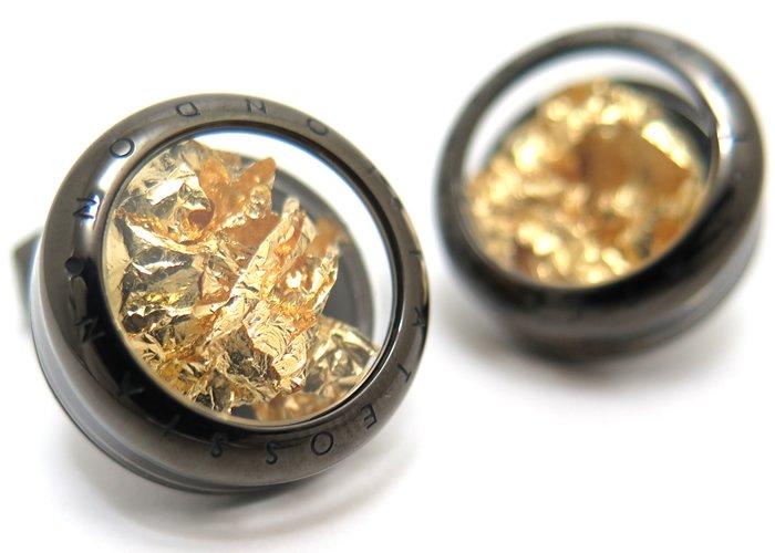 TATEOSSIAN(タテオシアン) ユニーク パノラマプレシャスリーフカフス(ガンメタル&ゴールド0.006g)(カフスボタン/カフリンクス) - ブランドの画像