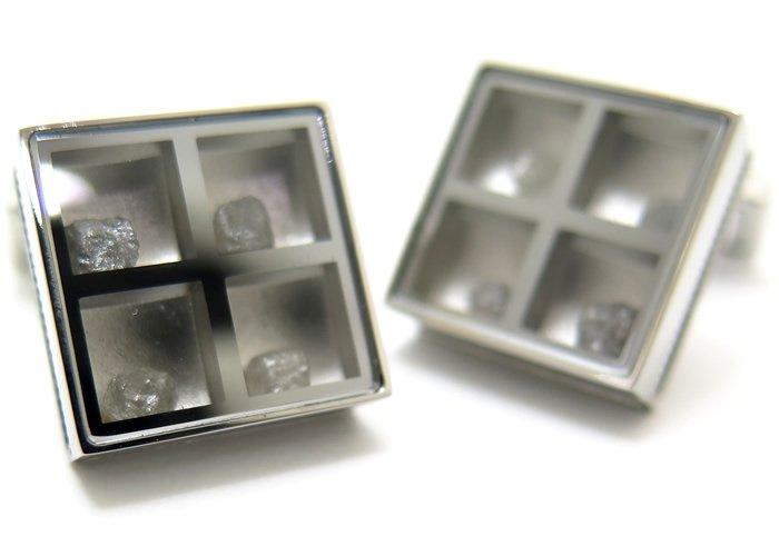 TATEOSSIAN(タテオシアン) ユニーク プレシャスウィンドウカフス(ラフダイヤモンド約1.91cts)(カフスボタン/カフリンクス) - ブランドの画像