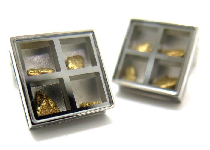 TATEOSSIAN(タテオシアン) ユニーク プレシャスウィンドウカフス(ゴールドナゲット約0.838g)(カフスボタン/カフリンクス) - ブランドの画像