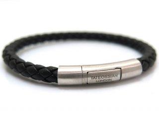 TATEOSSIAN(タテオシアン)レザー シルバーチャールズブレスレット(ブラック) - ブランド