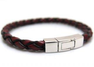 TATEOSSIAN(タテオシアン)レザー シルバー編み上げクラシックブレスレット(レッド) - ブランド