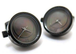 TATEOSSIAN(タテオシアン)メカニカル プレツィオーソ時計カフス(ブラックIP&黒蝶貝)(カフスボタン/カフリンクス) - ブランド