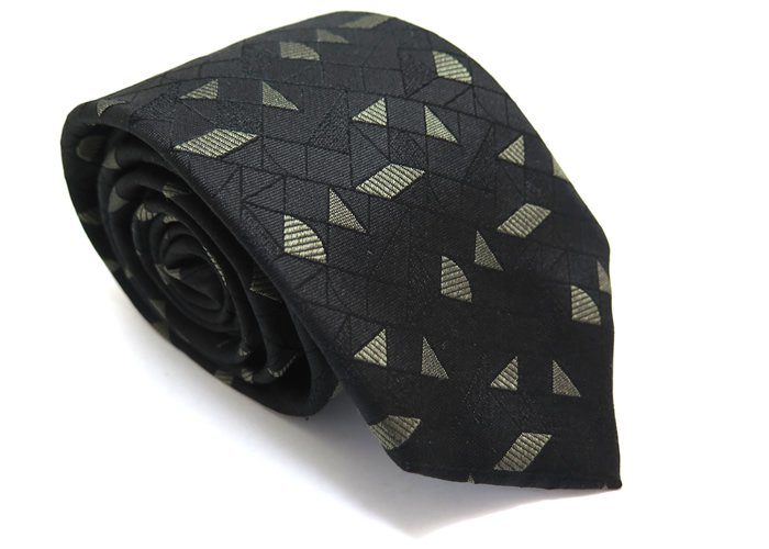TINO COSMA (ティノコズマ)シェイプジオメトリックパターン シルクネクタイ(ブラック)(ネクタイ/タイ) - ブランドの画像