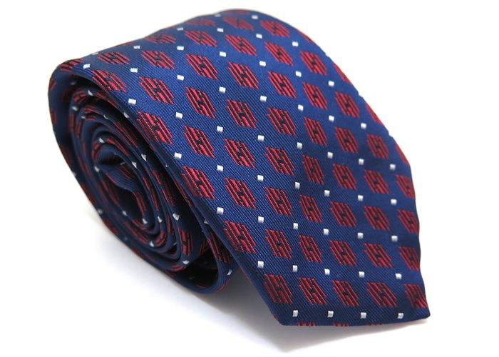TINO COSMA (ティノコズマ)ラインパラレログラム ジオメトリックパターン シルクネクタイ(ブルー)(ネクタイ/タイ) - ブランドの画像