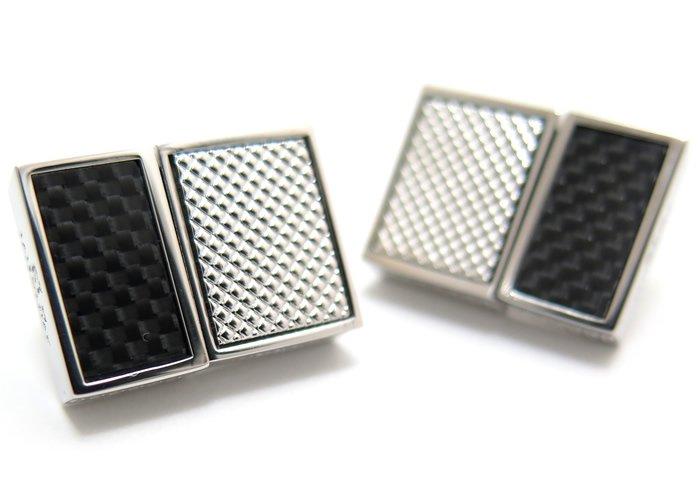 TATEOSSIAN(タテオシアン) カーボンスリムUSBメモリカフス(ロジウム&ブラック、16G+16G)(カフスボタン/カフリンクス) - ブランドの画像