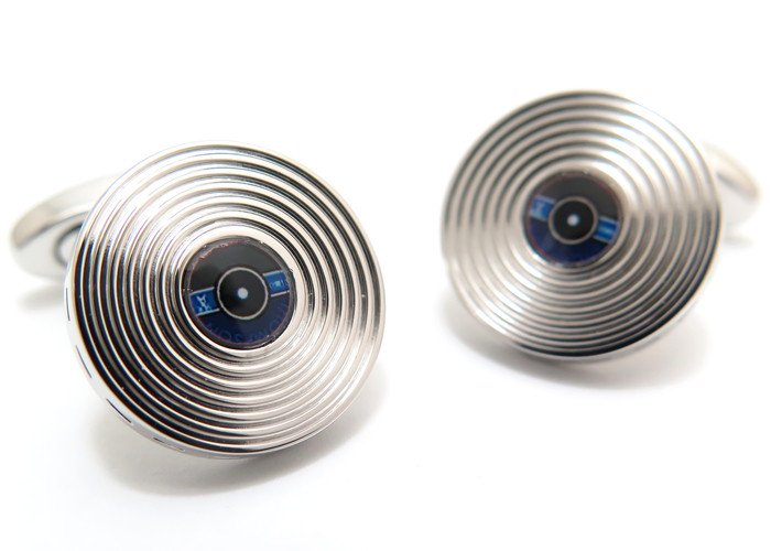 THOMPSON (トンプソン)  ビニールレコードカフス(ロジウム&ブルー) (カフスボタン/カフリンクス) - ブランドの画像