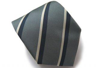 TINO COSMA (ティノコズマ)レジメンタル ストライプ シルク ネクタイ(ダークグレー)(ネクタイ/タイ) - ブランド