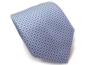 TINO COSMA (ティノコズマ)スクエア サークル パターン シルク ネクタイ(ライトブルー)(ネクタイ/タイ) - ブランド
