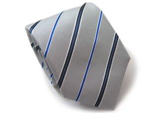 TINO COSMA (ティノコズマ)レジメンタル ストライプ ブルーライン シルク ネクタイ(シルバー)(ネクタイ/タイ) - ブランド