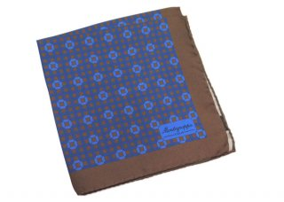 MONTEGRAPPA(モンテグラッパ) 3フォルド シルク ポケットスクエア(ブルー/マルーン)(ハンカチ/チーフ) - ブランド