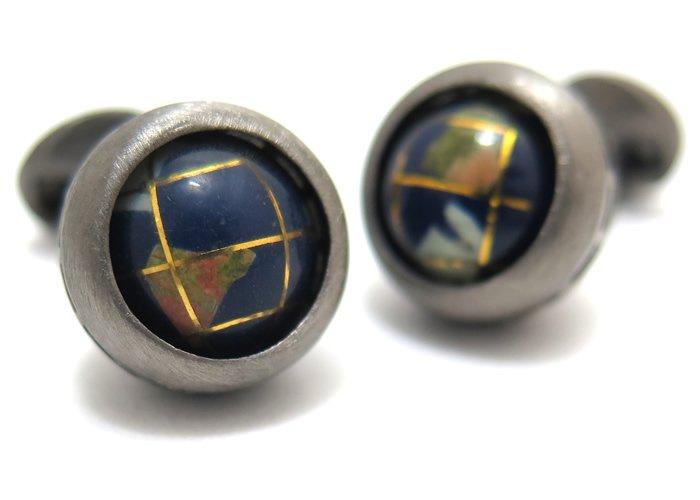 TATEOSSIAN(タテオシアン) ノベルティ 地球儀リボルブシルバーカフス(ブラックロジウム&ラピス)(カフスボタン/カフリンクス) - ブランドの画像