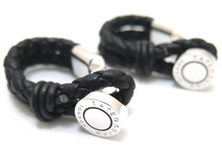 TATEOSSIAN(タテオシアン) レザー ペッレラップアラウンドカフス(ブラック) (カフスボタン/カフリンクス) - ブランド
