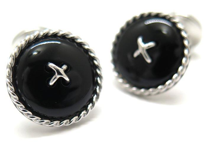 TATEOSSIAN(タテオシアン) ストーンオブザワールド ケーブルボタンダブルエンドカフス(ブラックアゲート)(カフスボタン/カフリンクス) - ブランドの画像