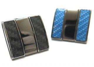 TATEOSSIAN(タテオシアン) ツイストスクウェアカーボンカフス(ブラック&ブルー)(カフスボタン/カフリンクス) - ブランド