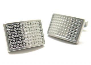 THOMPSON (トンプソン)  サテンドットカーブカフス(ロジウム) (カフスボタン/カフリンクス) - ブランド