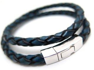 TATEOSSIAN(タテオシアン) 編み上げクリックシルバーブレスレット(ブルー) - ブランド
